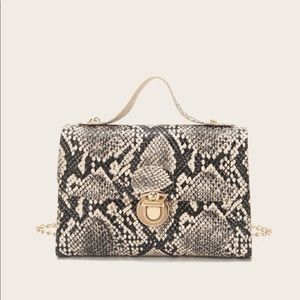 Handbags - Snakeskin Print Push Lock Satchel Bag